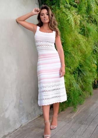 Vestido Tricot Midy Listrado Baby - Look do dia - lookdodia.com
