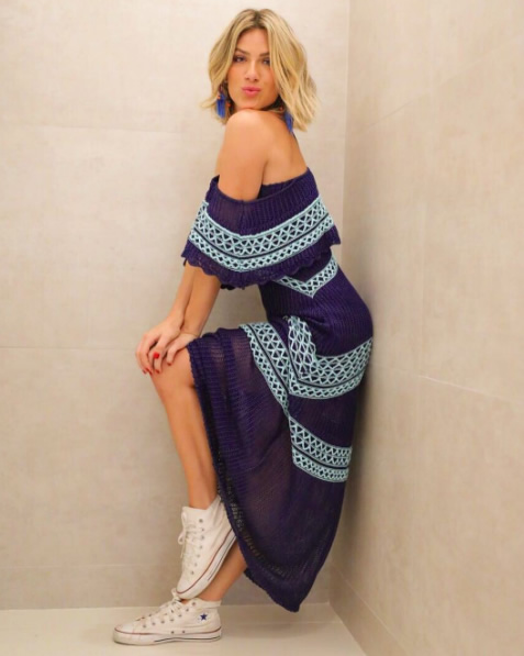 Giovanna Ewbank veste Vestido Tricot Pesponto Azul Galeria Tricot - Look do dia