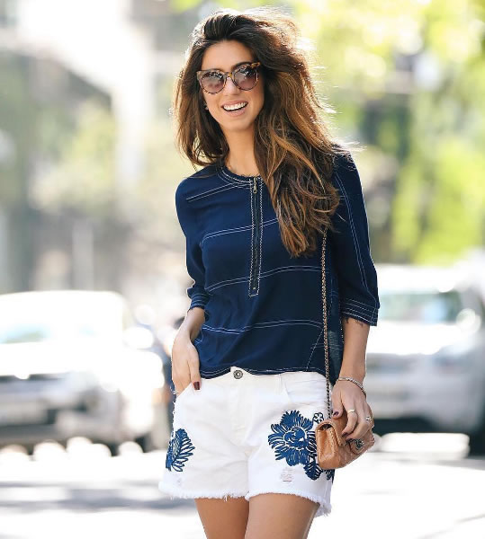 Luiza Sobral veste Shoulder Shorts Boy Bord Off-White - Look do dia - lookdodia.com