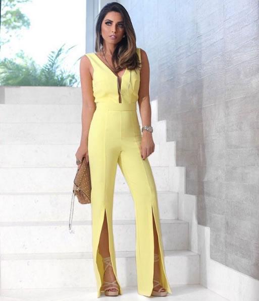 Maria Rosa Guerra veste Strass Macacao Amarelo Strass - Look do dia - lookdodia.com