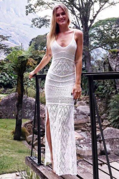 Fiorella Mattheis veste Galeria Tricot Vestido Serenity Offwhite - lookdodia.com