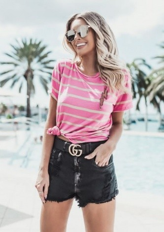 Look do dia Blusa Listrada Raio Rosa - Blessed Store - lookdodia.com