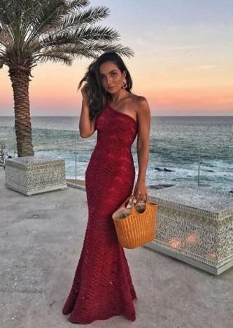 Lala Noleto veste Galeria Tricot Vestido Longo Vermelho - Look do dia-lookdodia.com