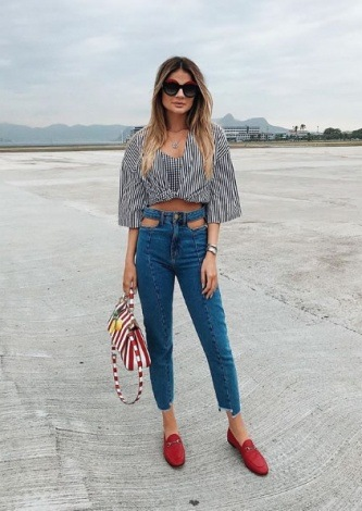 Thassia Naves veste Frammed Calca Skinny Jeans - Look do dia - lookdodia.com
