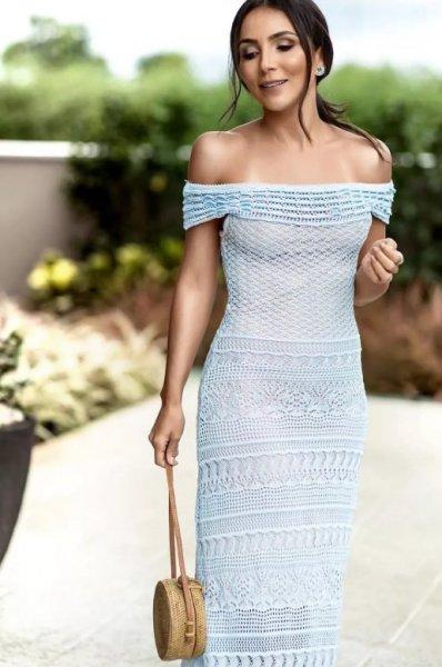 Lala Noleto veste Galeria Tricot Vestido de Renda Azul - Look do dia - lookdodia.com