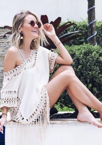 Carolina Jannini veste OQVestir Vestido Beachwear Bege - Look do dia - lookdodia.com