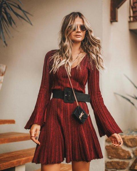 Thassia Naves veste Galeria Tricot Vestido Madri Marsala - Look do dia - lookdodia.com