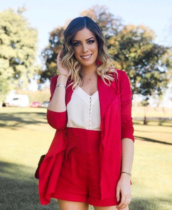 Blazer Linho Kimono Vermelho - Look do dia: Fabiana Justus
