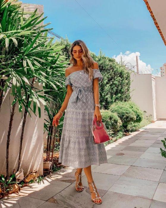 Vestido Lese Ombro a Ombro Coposê — Look do dia Thassia Naves