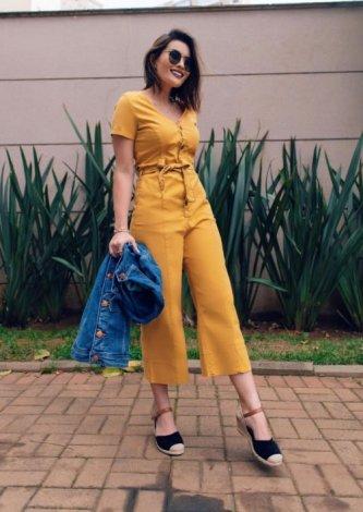 Macacão Cropped Color Faixa Amarração — Look do dia - Joyce Kitamura